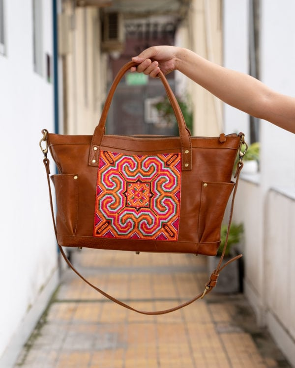 Xinh Weekender Bag: Handmade Leather with Sapa Textiles