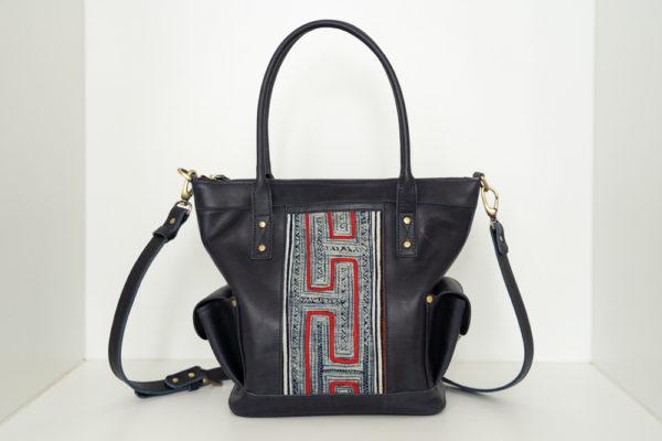 Xinh Handbag: Handmade Leather Tote with Northern Vietnam Textiles