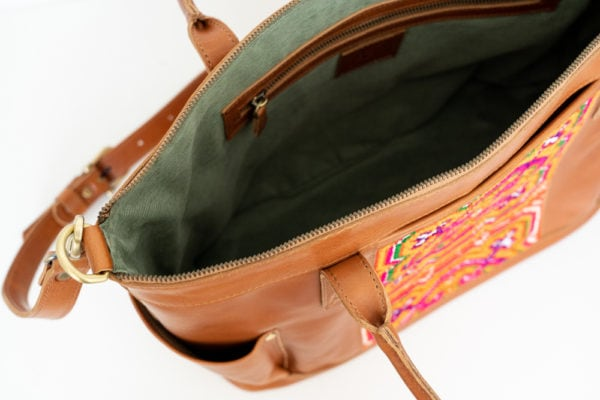 Xinh Weekender Bag: Handmade Leather with Northern Vietnam Textiles